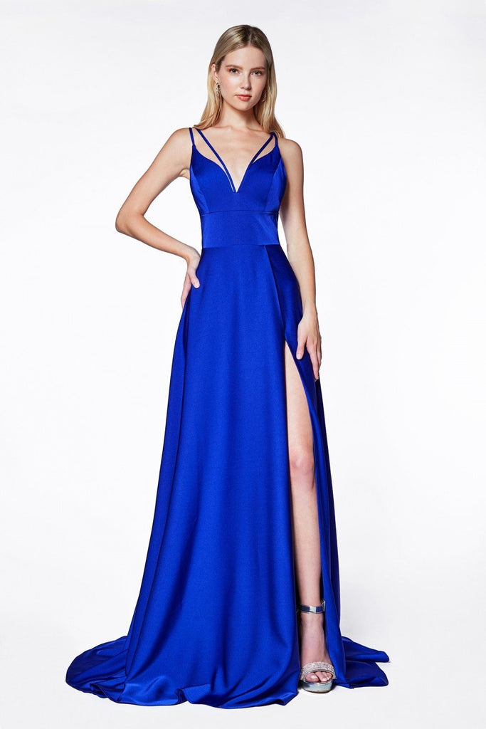 A-line V-Neckline Long Prom Gown with Slit and Double Strap PLUS SIZE CDCS034