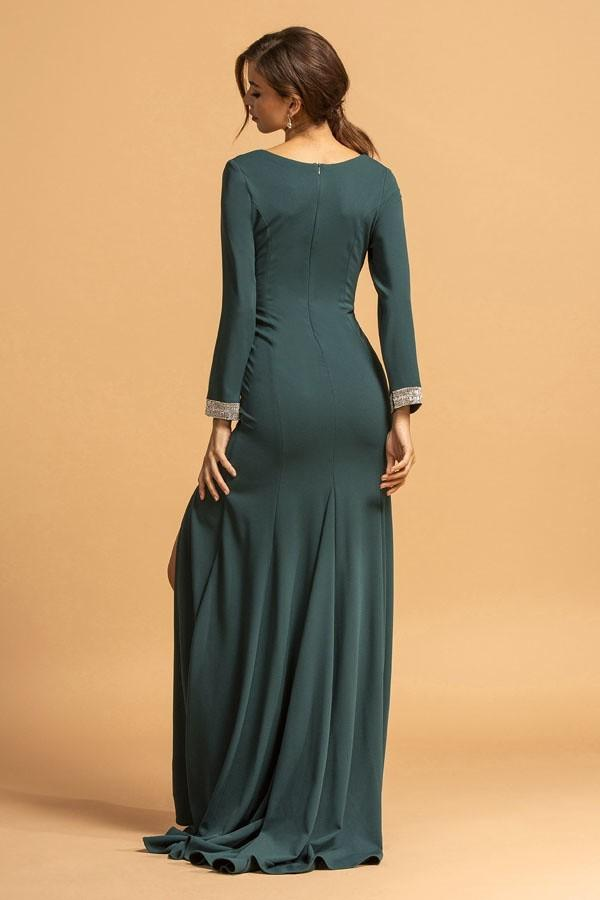 Long Sleeves V-Neckline Long Evening Prom Dress APD202