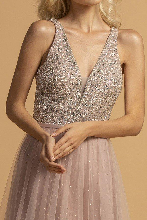Jeweled Sleeveless Long Prom A-Line Dress APL2165