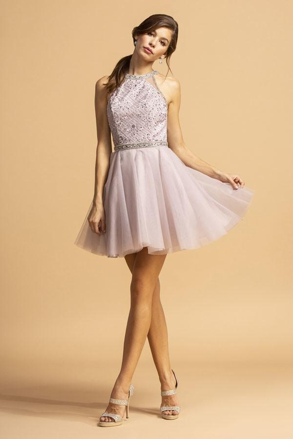 Halter Neck Beaded Short Homecoming Dress APS2095