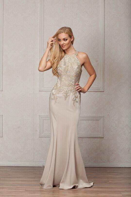 Beaded Mother of The Bride Long Bridesmaid Gown Dress AC569