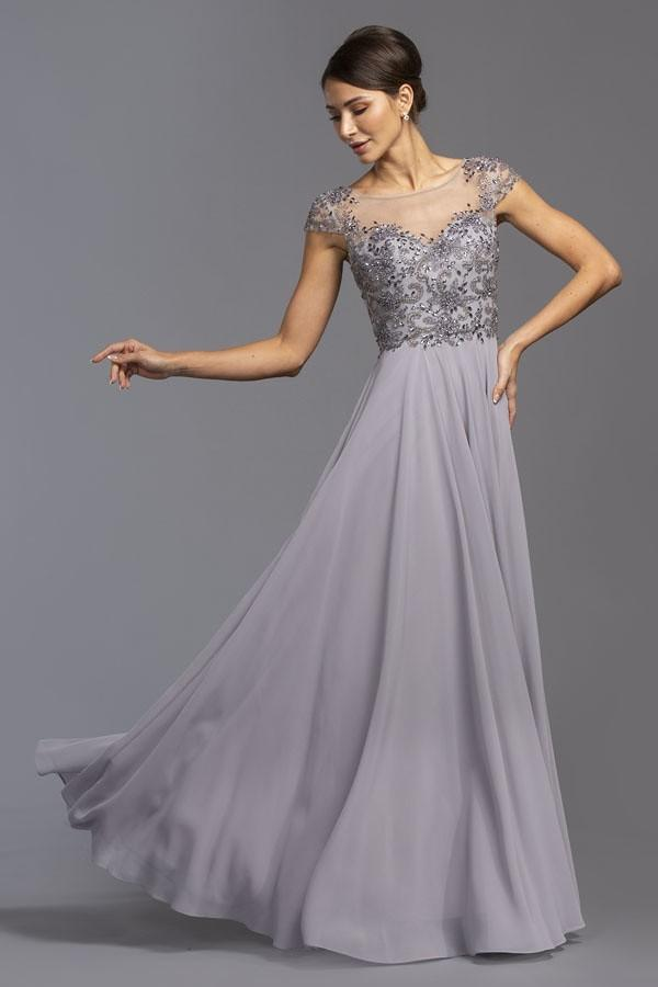 Illusion Neckline Cap Sleeves Beaded Long Prom Dress APM2100