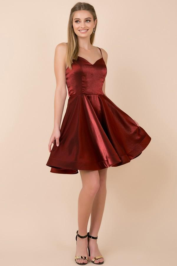 V-Neckline Short Homecoming Dress with Spaghetti Straps NXM689