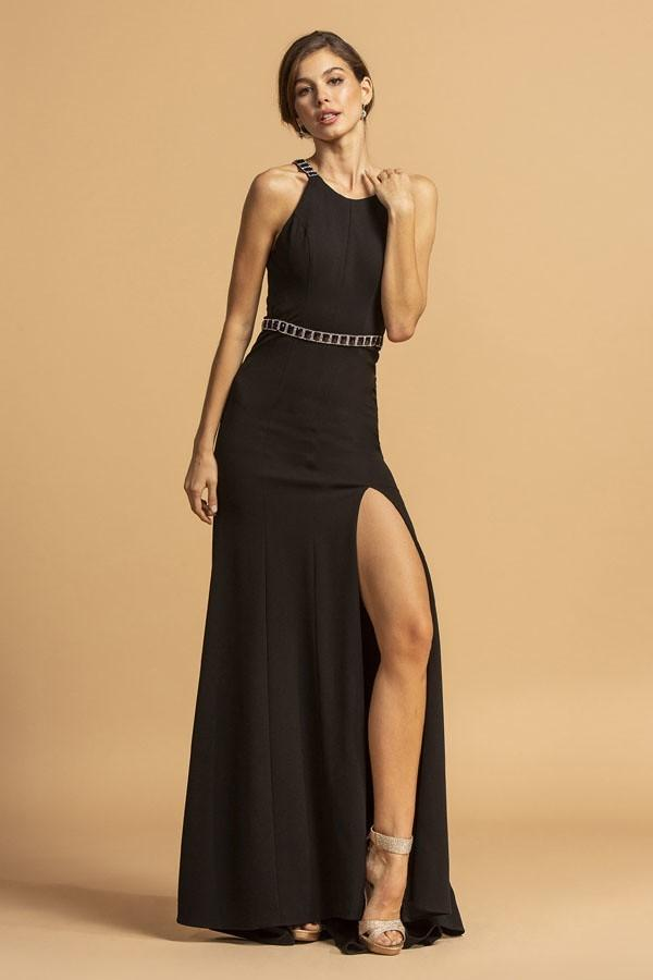 High Neckline Sleeveless Leg Slit Mermaid Dress APD316