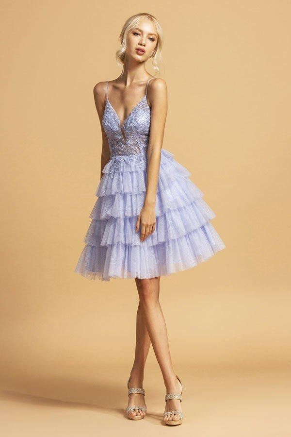 Lace V-Neckline Cute Short Homecoming Dress APS2308