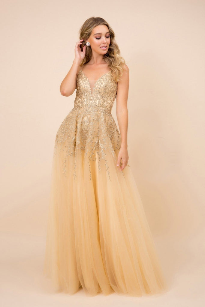 V-Neckline Gold Lace A-Line Long Dress NXR345