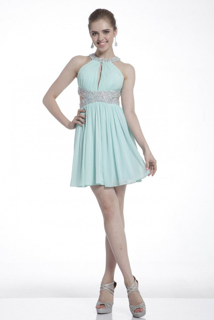 Halter Neckline Sleeveless A-Line Short Cocktail Dress CDJ721