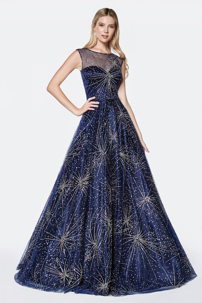 Illusion Neckline Glitter Bodice Sleeveless Long A-Line Navy Prom Dress CDJ771