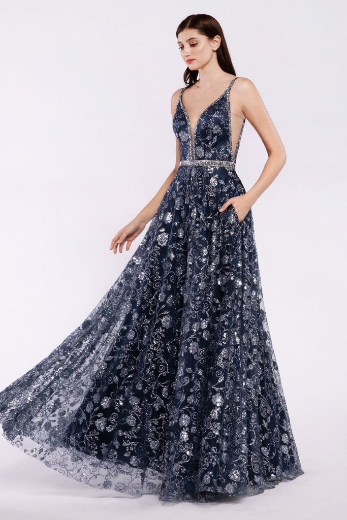 Jeweled Sleeveless Long Floral Prom Dress PLUS SIZE CDJ781