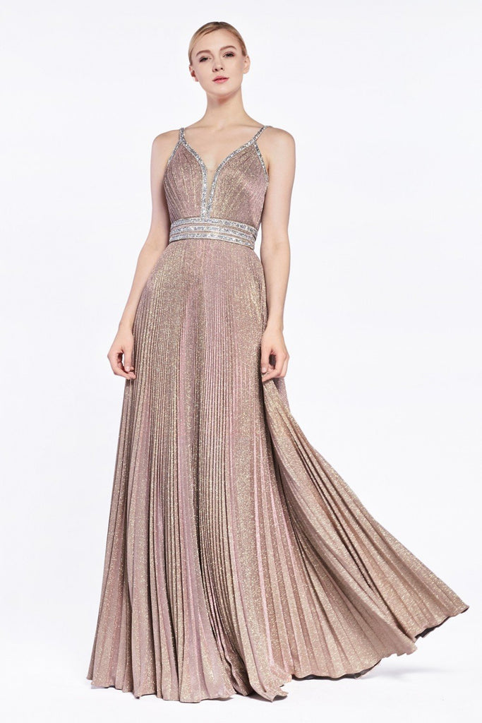 Jeweled A-line Long V-Neckline Prom Dress CDJ8589