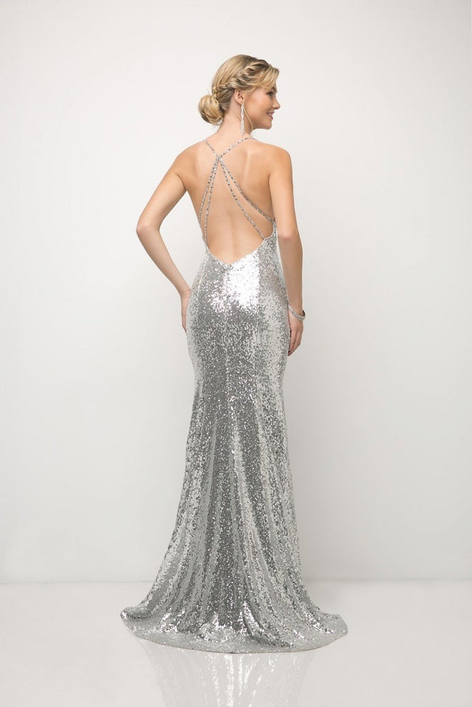 Sequin Sheath V-Neckline Long Prom Gown CDJS406