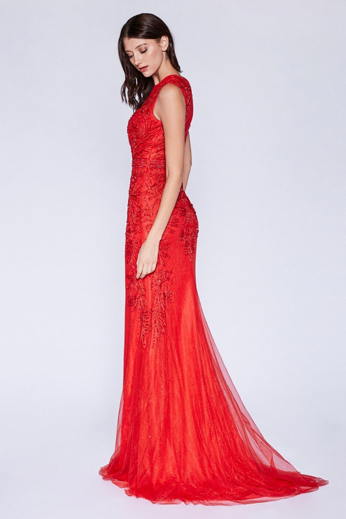 Bateau Neckline Sleeveless Long Prom Dress CDKC1736