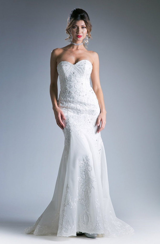 NEW Embroidered Sheath Novelty Long Wedding Gown CDKC1762