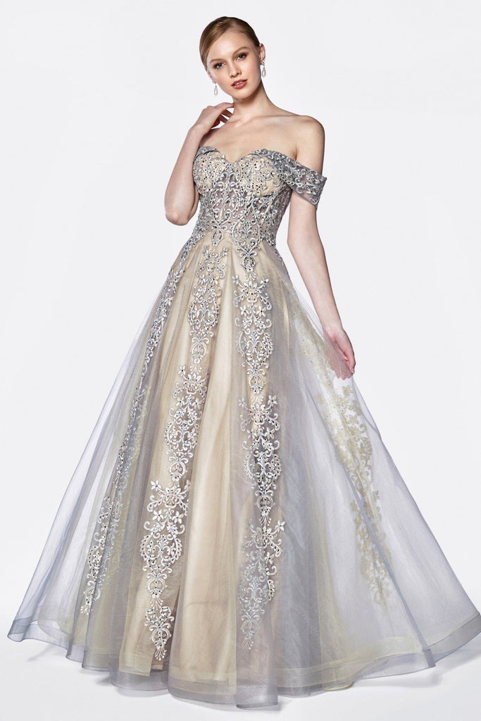Sweethear Off-Shoulder A-Line Long Prom Dress CDKC19070