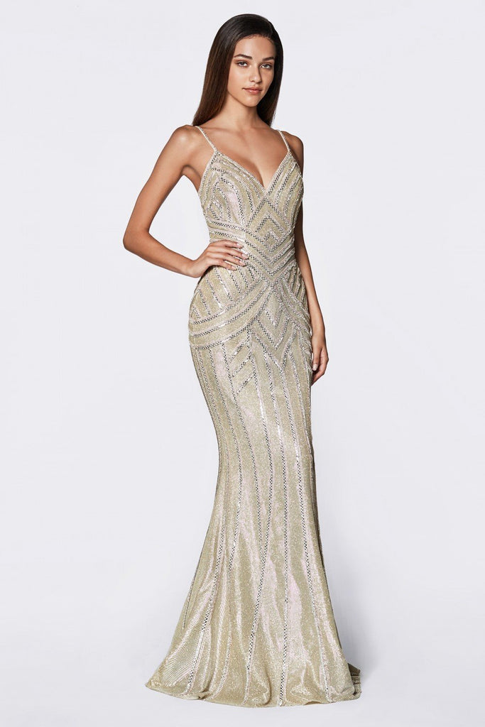 Mermaid Shape V-Neckline Sleeveless Bodice Beaded Long Prom Gown CDKC875