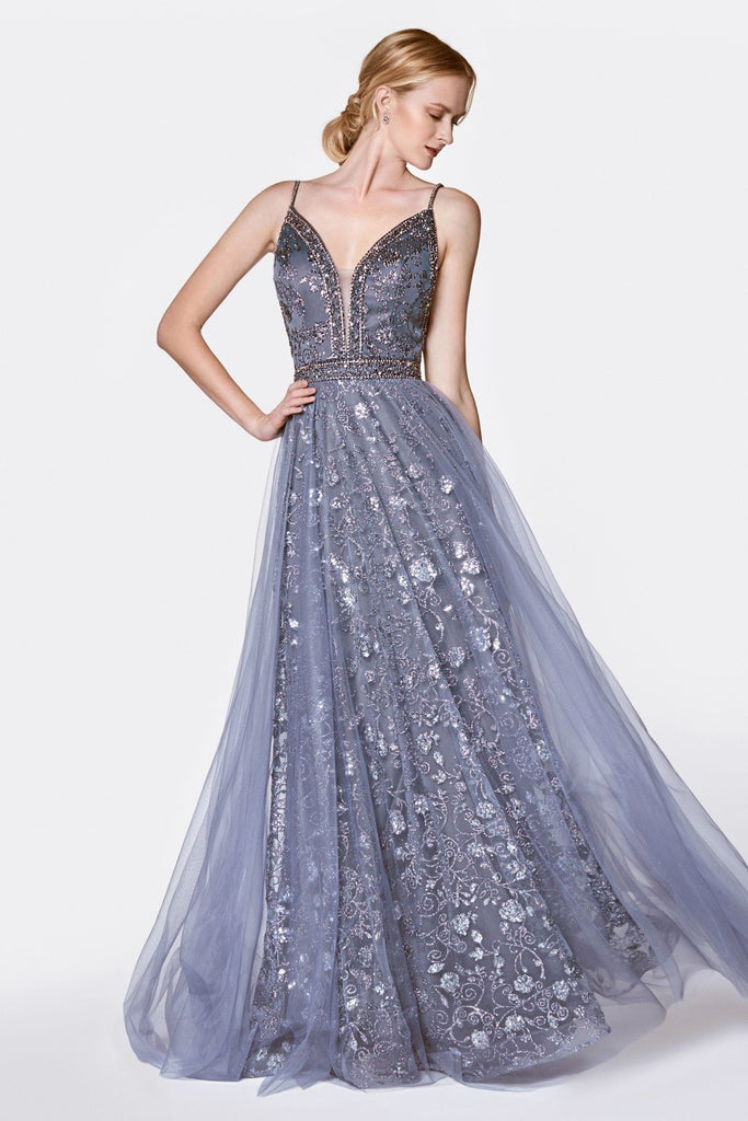 Jeweled V-Neckline Sleeveless Floral Long A-Line Prom Dress CDKC888