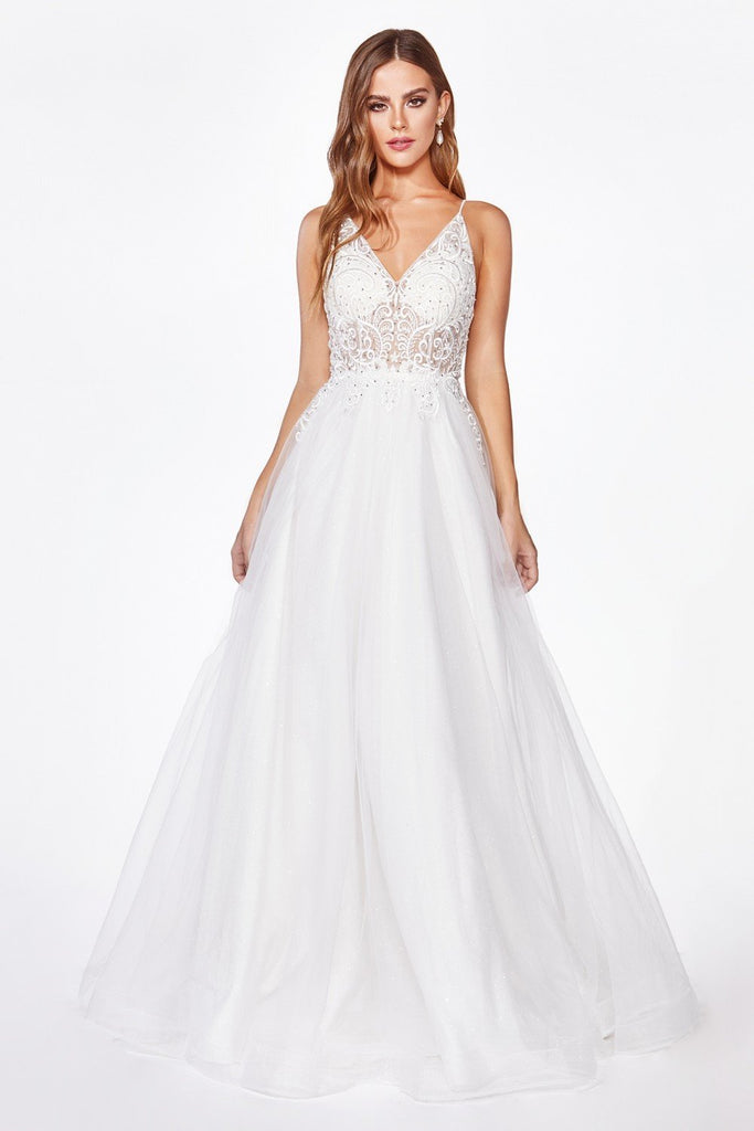 A-Line Off-White V-Neck Wedding Dress CDKC897W