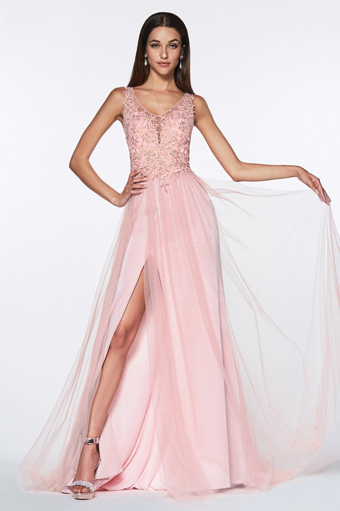 Scoop Neckline Floral and Jeweled Top Long Prom Dress CDKV1040