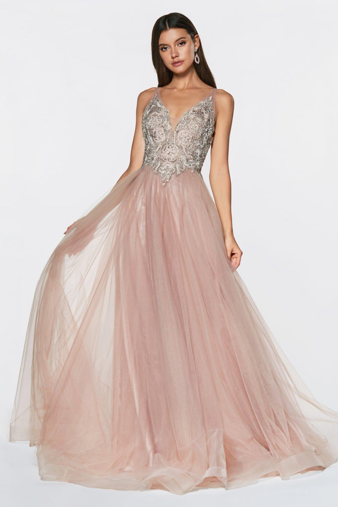 Full Beaded Top V-Neckline Sleeveless Tulle Long A-Line Prom Dress CDKV1041