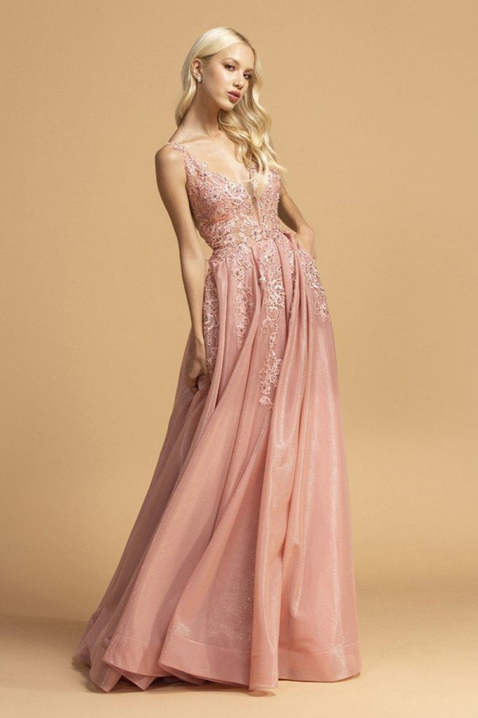 Jeweled V-Neckline Long Prom Dress APL2149