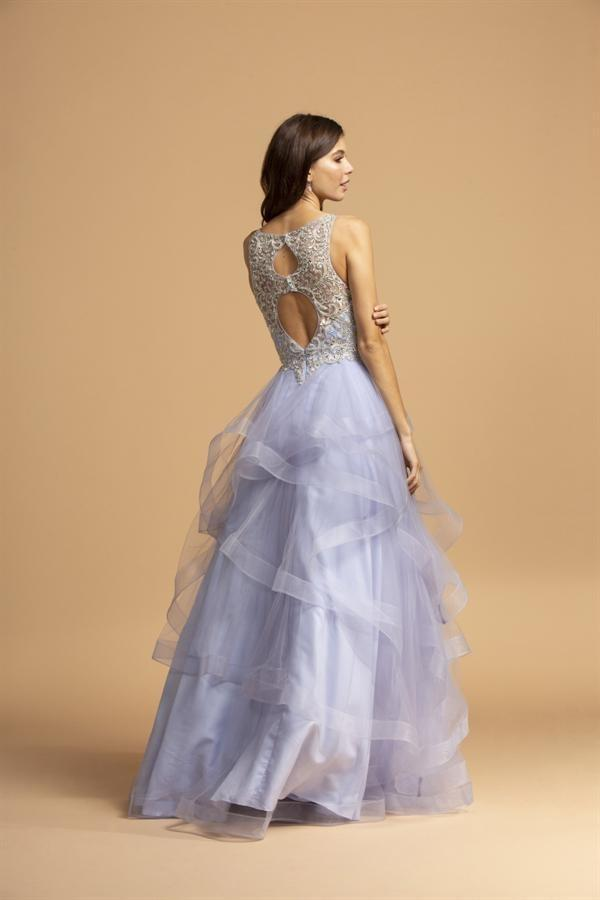 Scoop Neckline Beaded Top Long Prom Dress APL2160