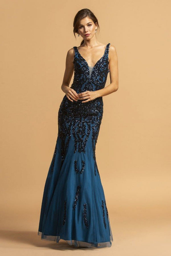 Mermaid Shape Long Jeweled Prom Dress APL2173