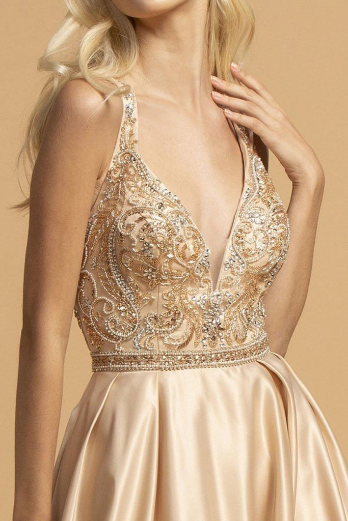 Jeweled Waist V-Neckline Long Evening Dress APL2174