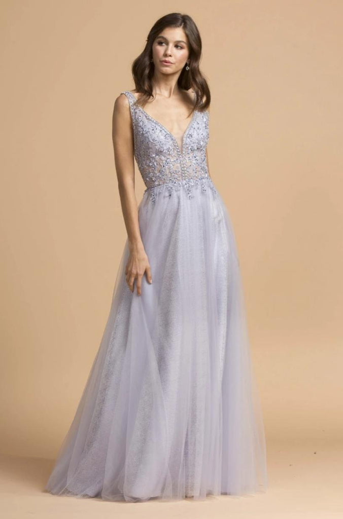 Jeweled V-neckline A-line Long Prom Dress APL2179
