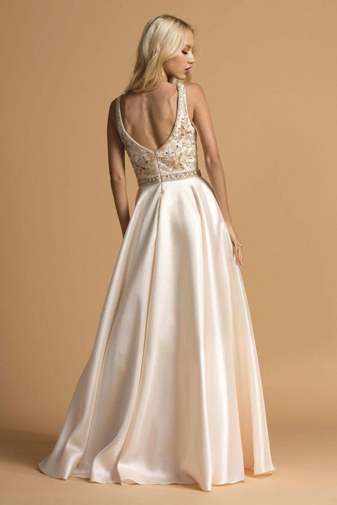 Jeweled Waist V-Neckline Long Prom Gown APL2183