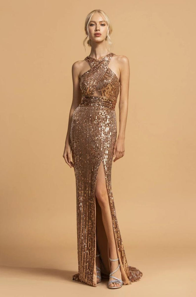 Sequined High Neckline Leg Slit Long Prom Dress APL2197