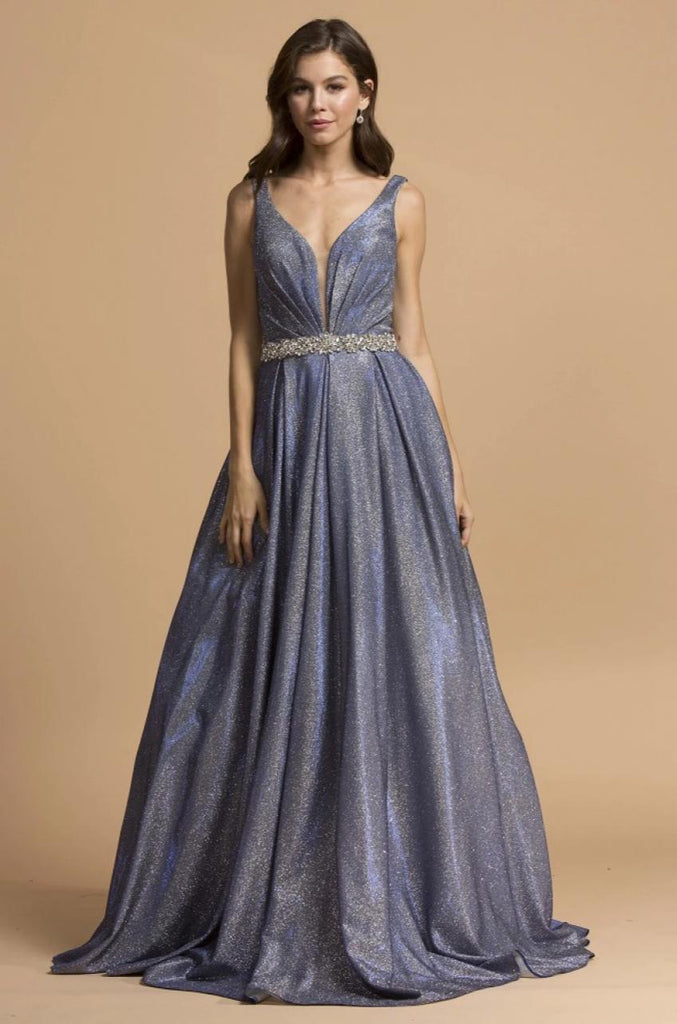 Glitter V-Neckline A-line Long Prom Dress APL2200