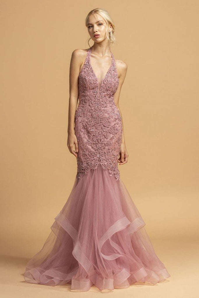 Marmaid Shape Long Jeweled Bridesmaid Dress APL2232