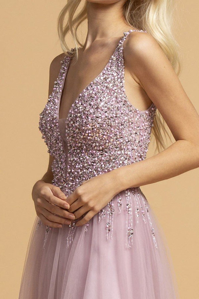 Jeweled Lace Bodice Long Prom Dress APL2234