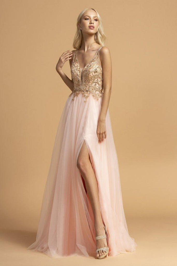 Jeweled Sleeveless Long Prom Dress with Lace Skirt APL2239