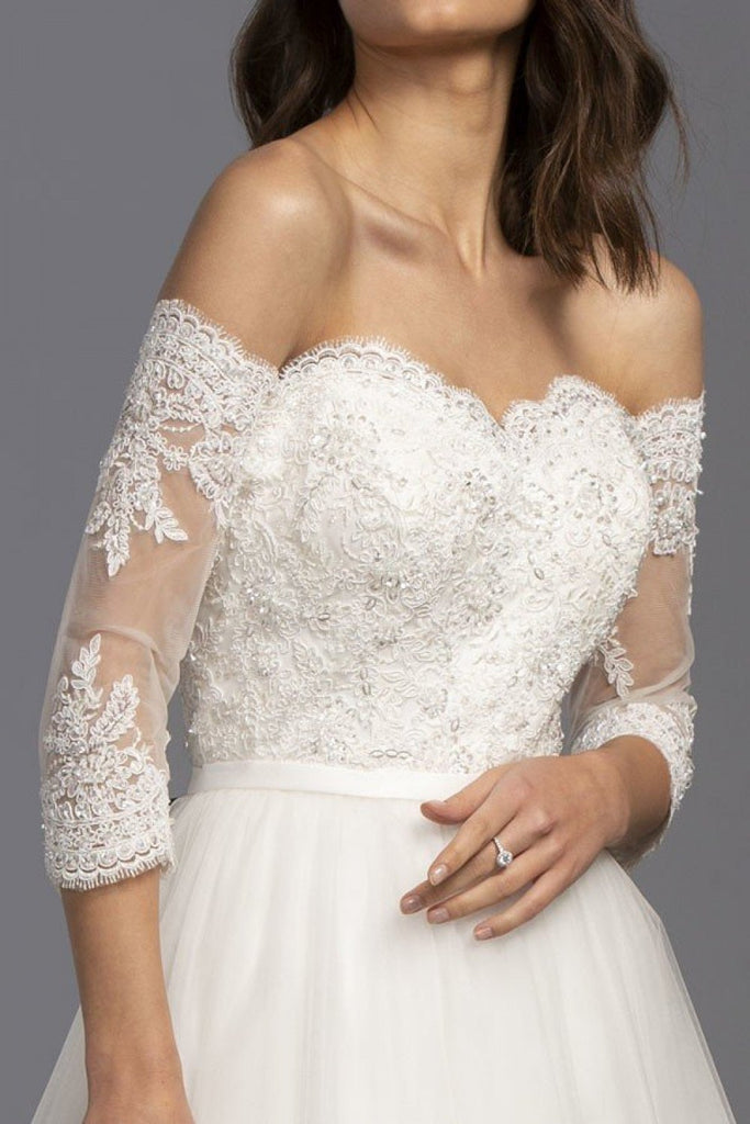 Off-Shoulder Sweetheart Neckline Ballgown Shape Wedding Dress APL2248