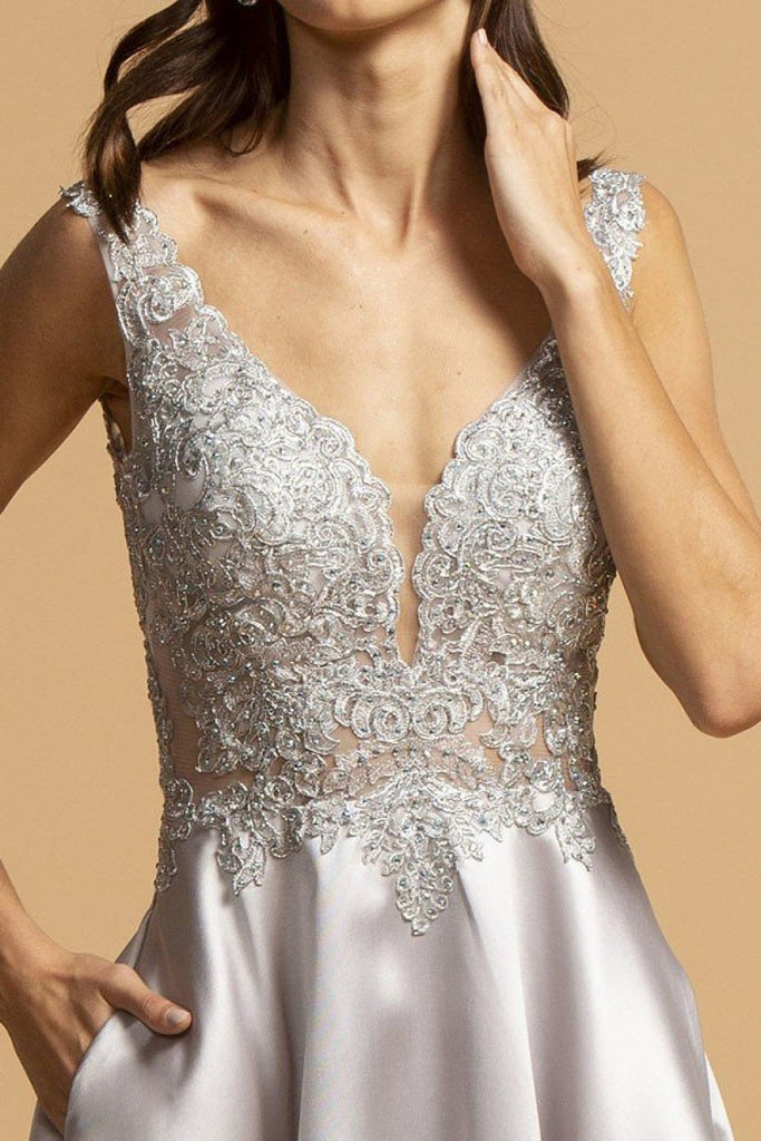 V-Neckline Jeweled Long Prom Gown APL2255