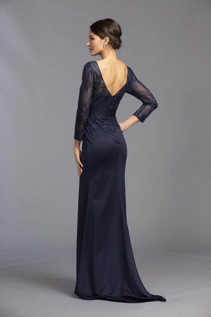 Long Sleeves V-Neckline Leg Slit Prom Dress APL2317