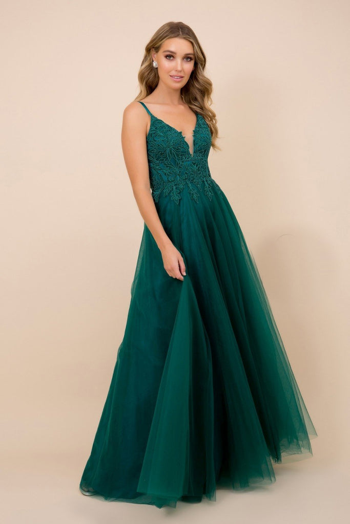 Deep V-Neckline A-Line Long Dress NXR357