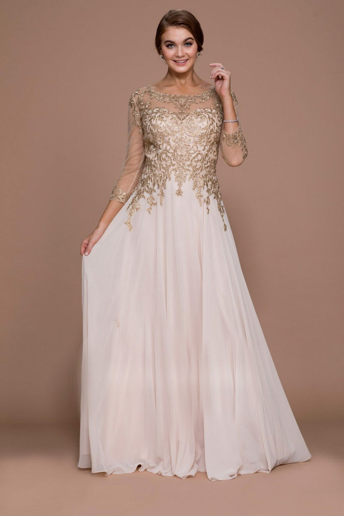 Long Illusion Sleeve A-Line Chiffon Prom Dress NXJ501