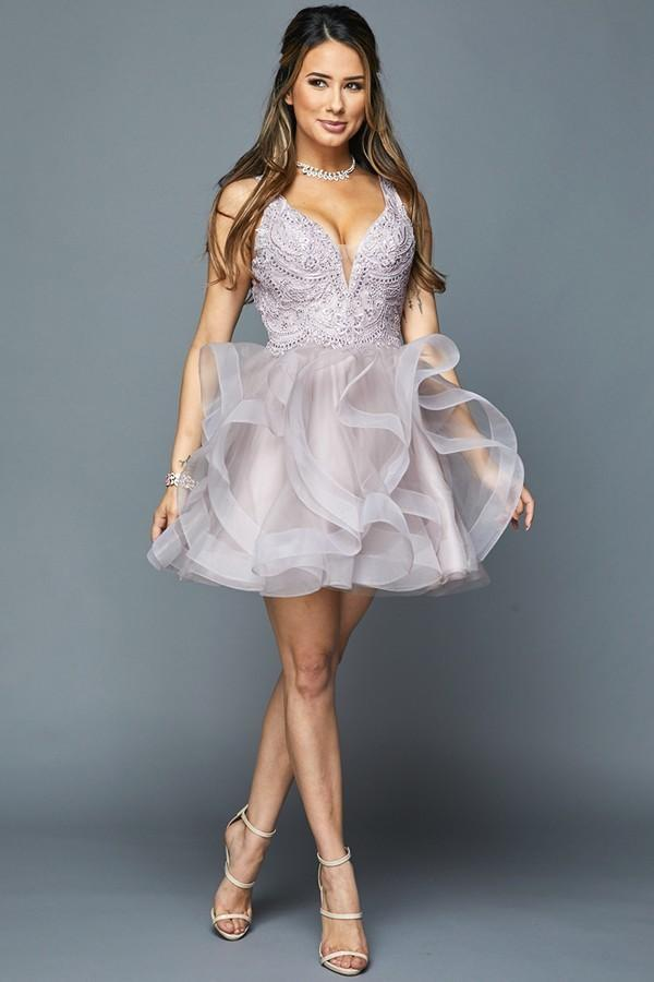Wholesale Short Mini Deep V-Neckline Beaded A-Line Dress JT812-alwaysprom.com