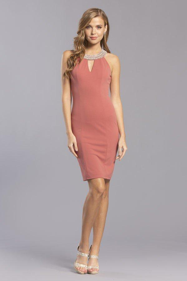 Scoop Neckline Jeweled Sheath Cocktail Dress APD276