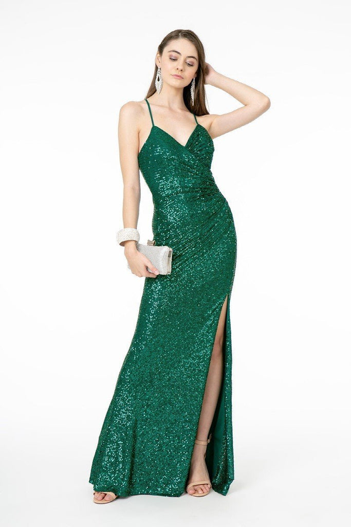 V-Neckline Sleeveless Long Prom Dress GSGL2918