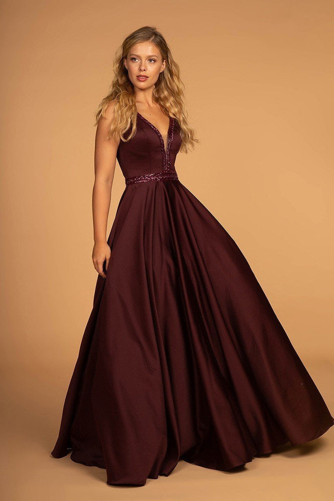 A-Line Women Formal Evening Sleeveless Deep V-Neck Satin Dress GSGL2532-Long Dresses | Alwaysprom.com-Alwaysprom.com