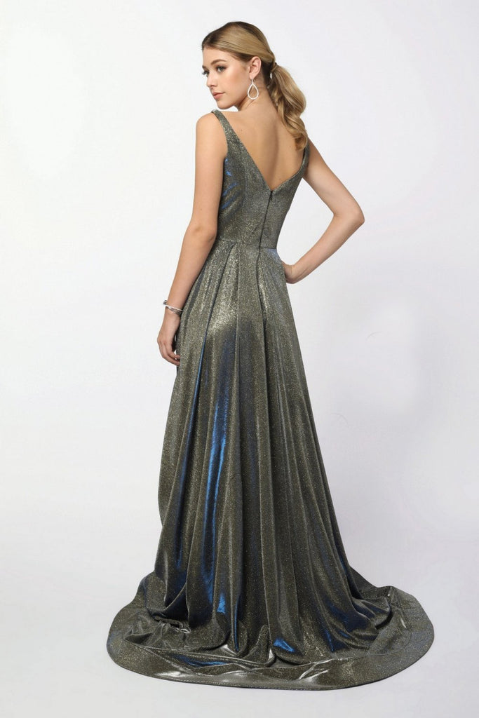 V-Neckline Sleeveless Metallic Fabric Long A-line Prom Dress NXR274