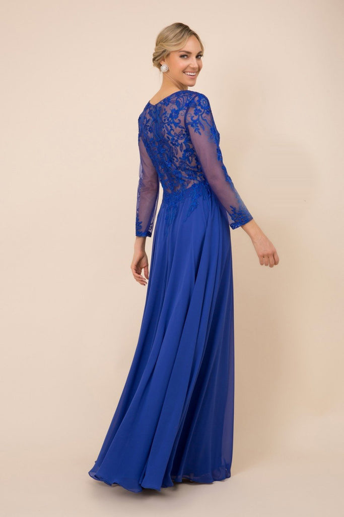 Illusion Bodice Long Sleeve A-Line Dress NXH529