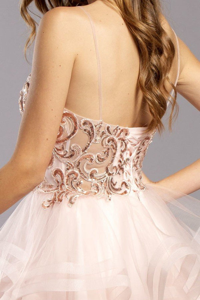 Jeweled Spaghetti Straps Short Prom Dress APS2284
