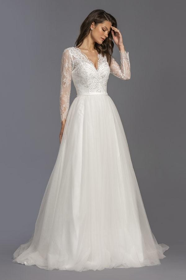 Lace Long Sleeves V-Neckline A-Line Long Wedding Dress APL2250