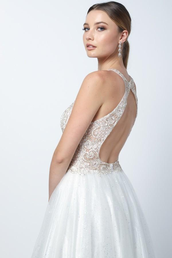 Halter Neckline Sleeveless Jeweled Waist Long Bridal White Dress NXE158-W
