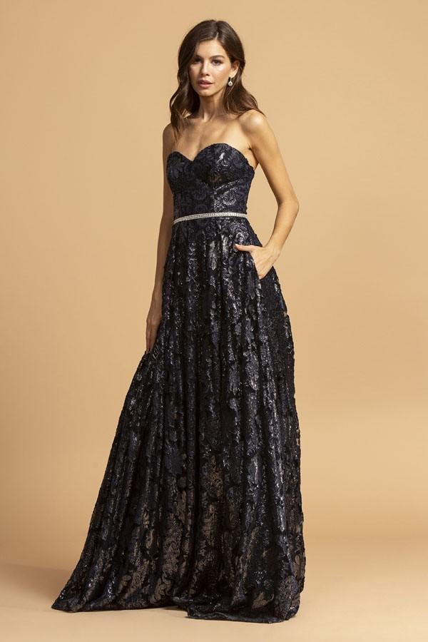 Sweetheart Neckline NAVY Strapless Prom Dress APD321