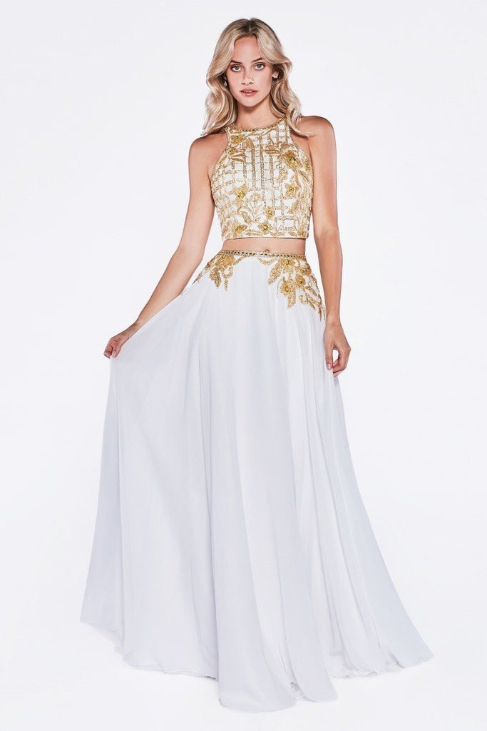Two Piece High Neckline Long Prom Dress CD71401-1